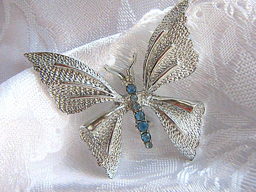 Silver Vintage Butterfly Brooch Signed Gerrys | by featofclay