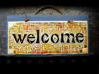 Welcome Sign Mosaic in Warm Tones | by Nutmeg Designs