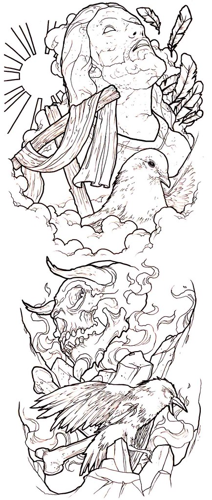 Good Evil Conflict Tattoo Sleeve Idea Ronnie Hicks Flickr