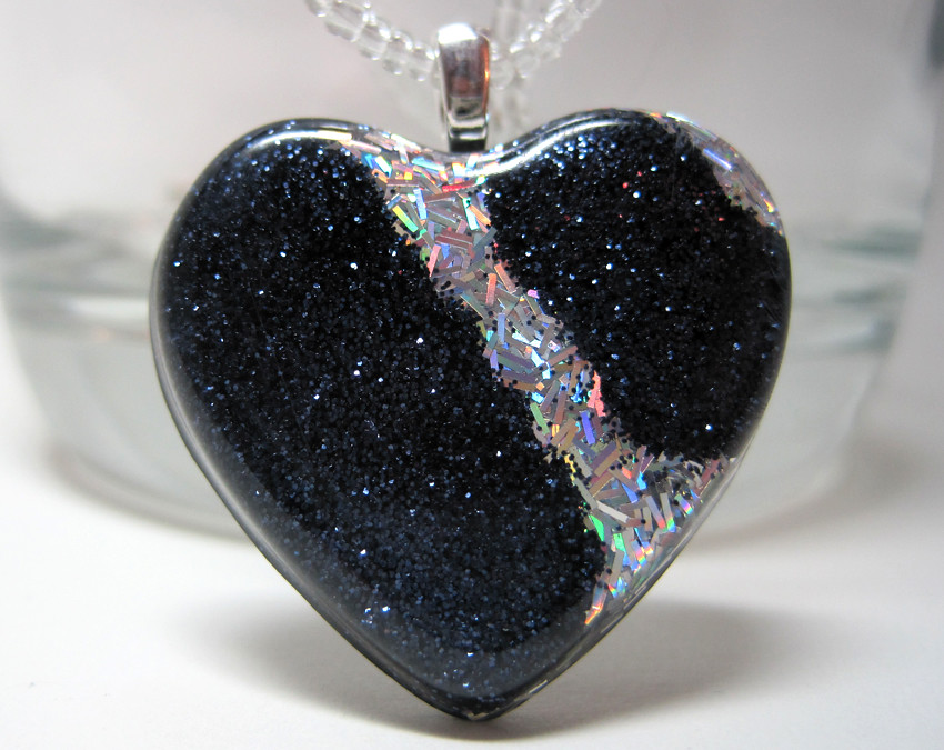 Black glitter and holographic silver glitter stripe resin flickr black glitter and holographic silver glitter stripe resin heart pendant by experience designs mozeypictures Image collections