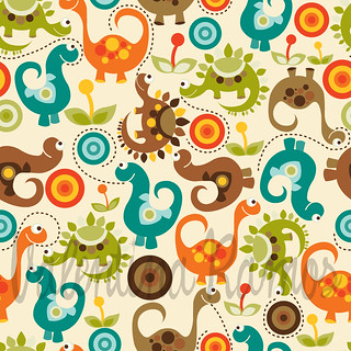 Baby Dino. Fabric design | by valentinadesign