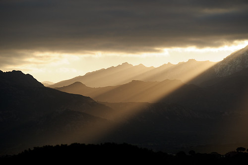 Backlight Mountain Sunrise, from Calvi, Corsica, France | by Xindaan