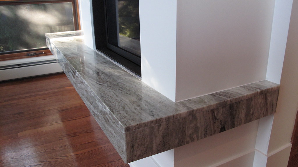 ... Granite slab fireplace suspended hearth | by rmstoneworks - Granite Slab Fireplace Suspended Hearth Miter Joined Wrap-… Flickr