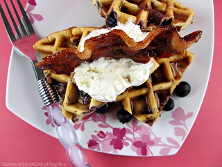 Blueberry Belgian Waffles and Brown Sugar Bacon | by CinnamonKitchn