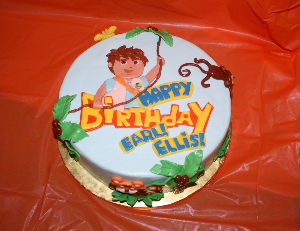 Go Diego Go Cake I Made This Jungle Themed Diego Cake For  Flickr - Go diego go birthday cake
