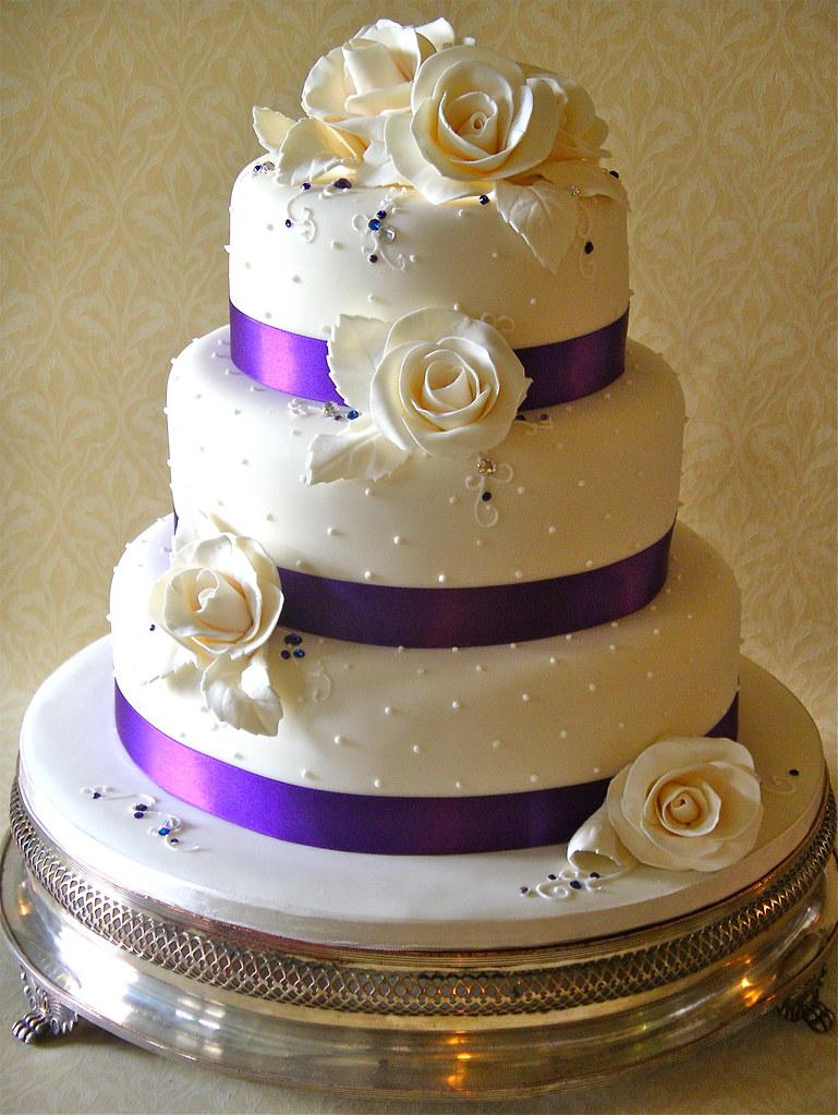Ivory & purple rose wedding cake | Lynette Horner | Flickr