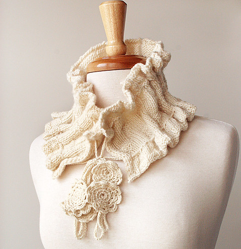 Victoriana Knit Scarflette - Organic Merino Wool | by Elena Rosenberg Wearable Fiber Art