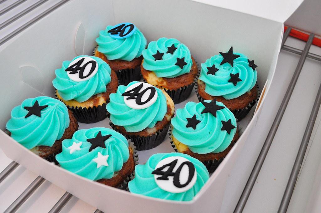 Turquoise 40th Birthday Cupcakes Choc Vanilla And Vanilla Flickr