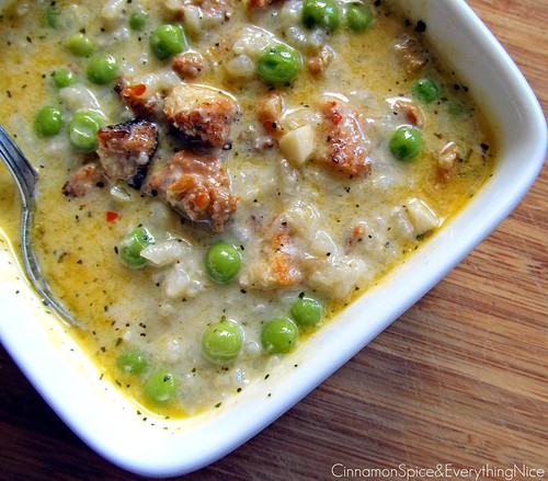 Risotto, Pea and Sausage Soup | by CinnamonKitchn