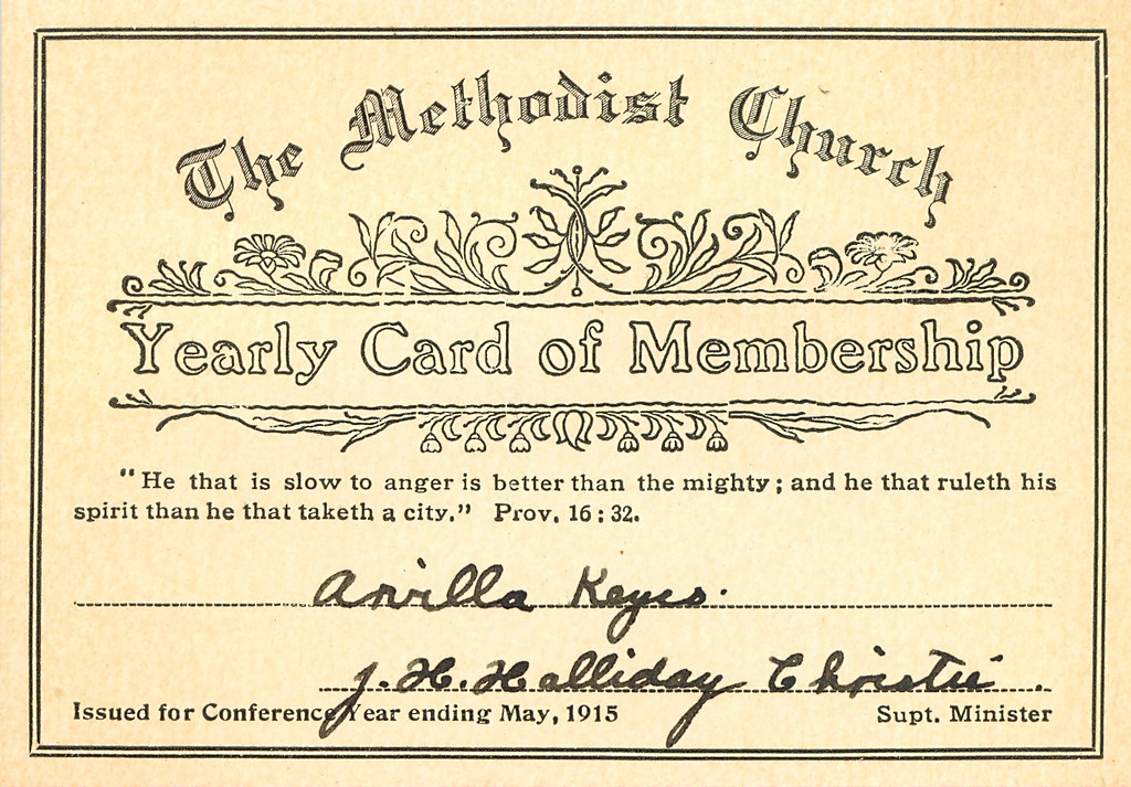 Methodist Church Membership Card