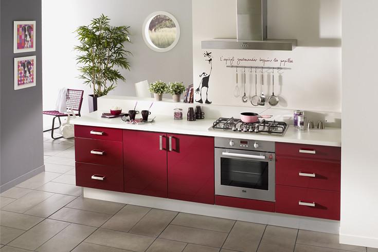cuisine équipée rouge - modèle design brillant parme | flickr - Model De Cuisine Equipee