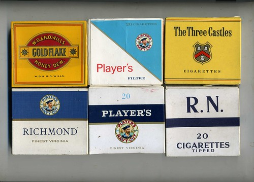 Cigarette Packet 20s - Wills Gold Flake, RN, Players Richmond Navy Cut, The Three Castles, Players (Canada) | by sludgegulper