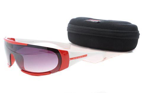bbde7a3f85f2 ... Prada Sunglasses Red White Irregular Connection Frame Purple Lens