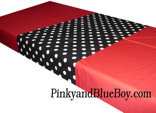 Red tablecloth material minnie mouse black and white polka for Red and white polka dot decorations