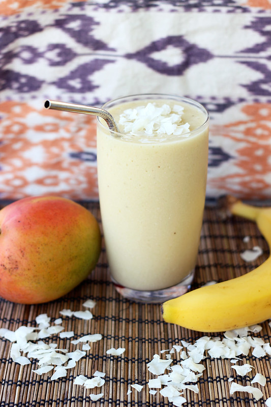 Coconut Mango Banana Smoothie - Gluten-free, Vegan + Refined Sugar-free