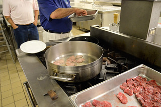 Beef and Blooms Wagyu beef being prepared by Four Seasons Maui Chef Roger Stettler and Sous Chef Sam Faggetti at the Beef and Blooms Taste Education Event | by Slow Food Maui