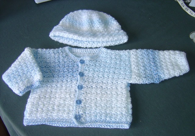 Blue Baby Boy Crochet Cardigan And Hat The Blue Cardigan Flickr