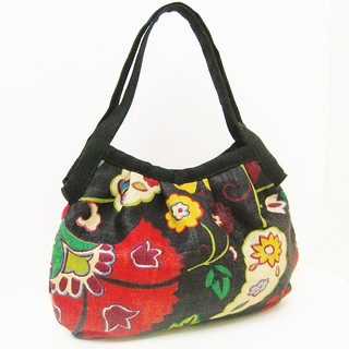Small Granny Bag Handbag Tote Yellow Blue and Red Flowers on Black | by LMcreation