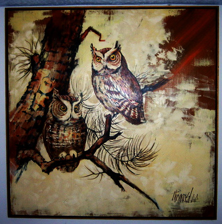 Stunning 4 39 x4 39 original owl painting by thomas lee flickr for Lee s painting