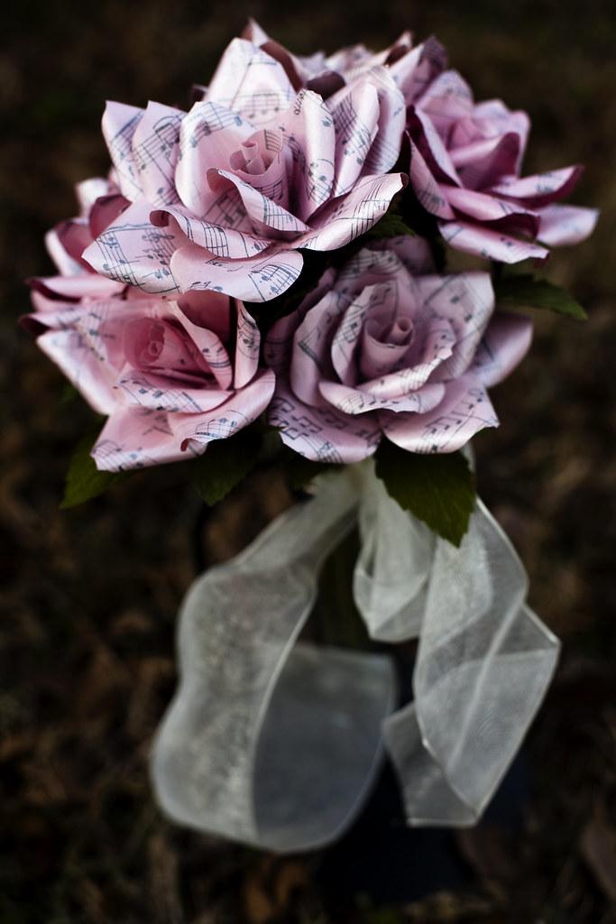 petite paper flower wedding bouquet - vintage sheet music …   Flickr