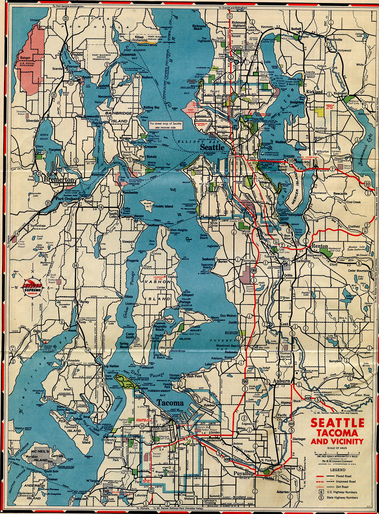 Puget Sound Road Map 1947 Gas station road map from Stand Flickr