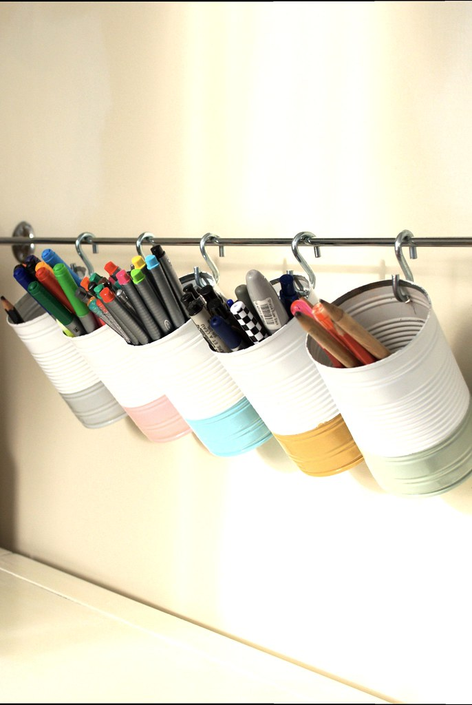 Tin can pen and pencil storage