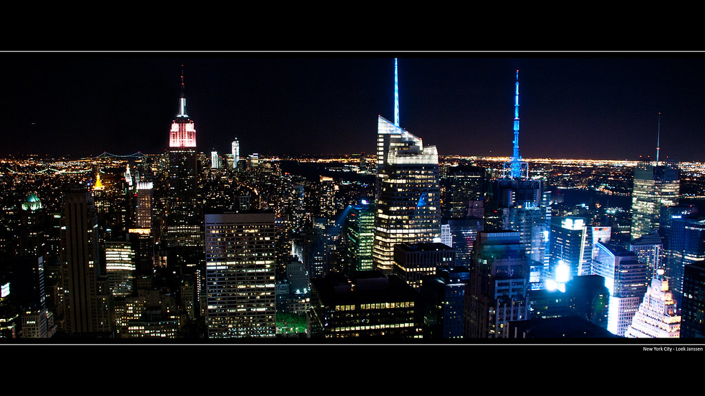 Nyc Skyline Manhattan Night Wallpaper Desktop Background Flickr