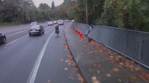 SW Barbur Blvd, dented fence | by pdxcommuter