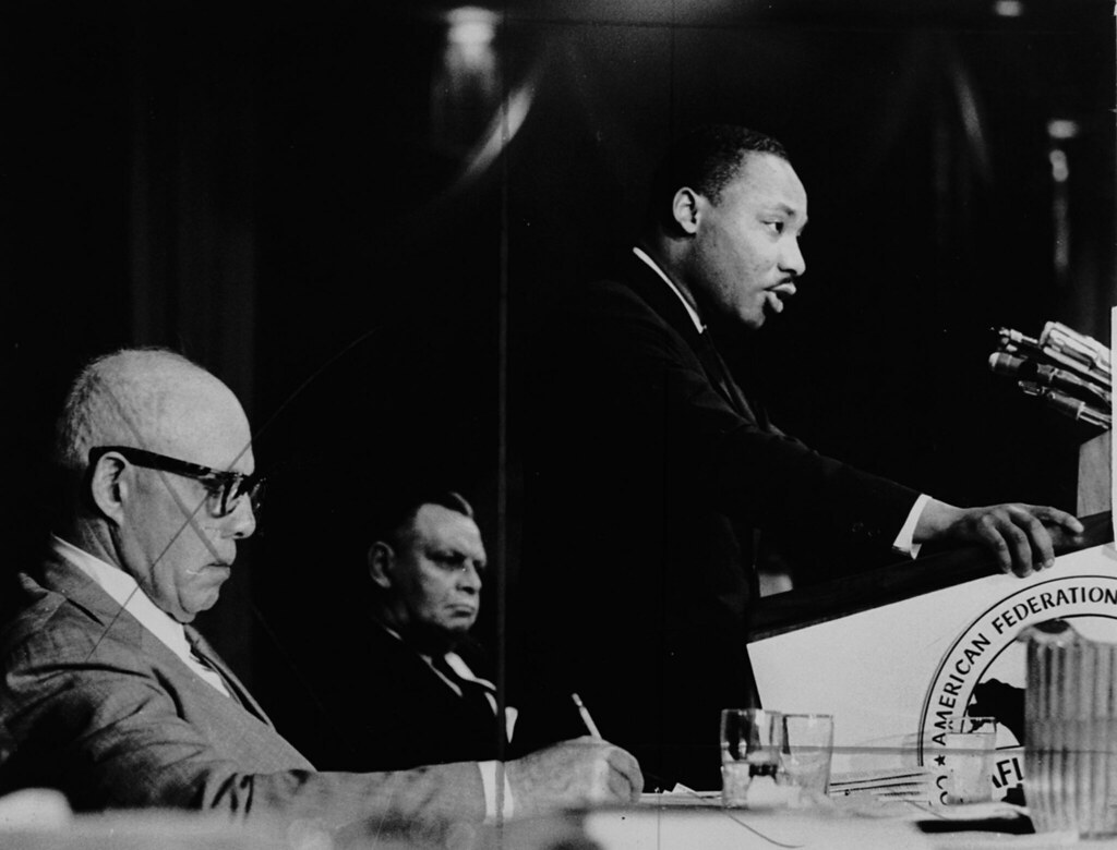 Martin Luther King Jr Giving A Speech While George Mea Flickr