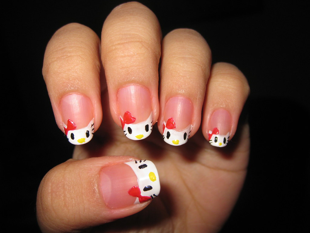 Hello Kitty Nail Art Hello Kitty Hehe I Tried My Best To Flickr