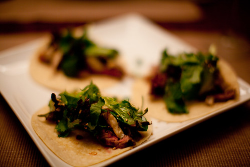 Sesame Steak Tacos with Shiitake Mushrooms, Cilantro and Asian Green Salad | by phy5ics