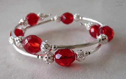 Red Crystal Wrap Around Bracelet | by Julie-Ann T