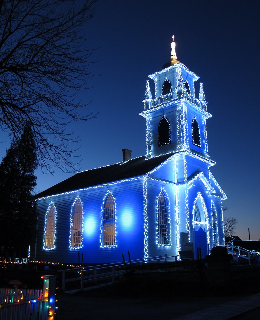 Night lights upper canada village - Blue Church By Deanspic Blue Church By Deanspic