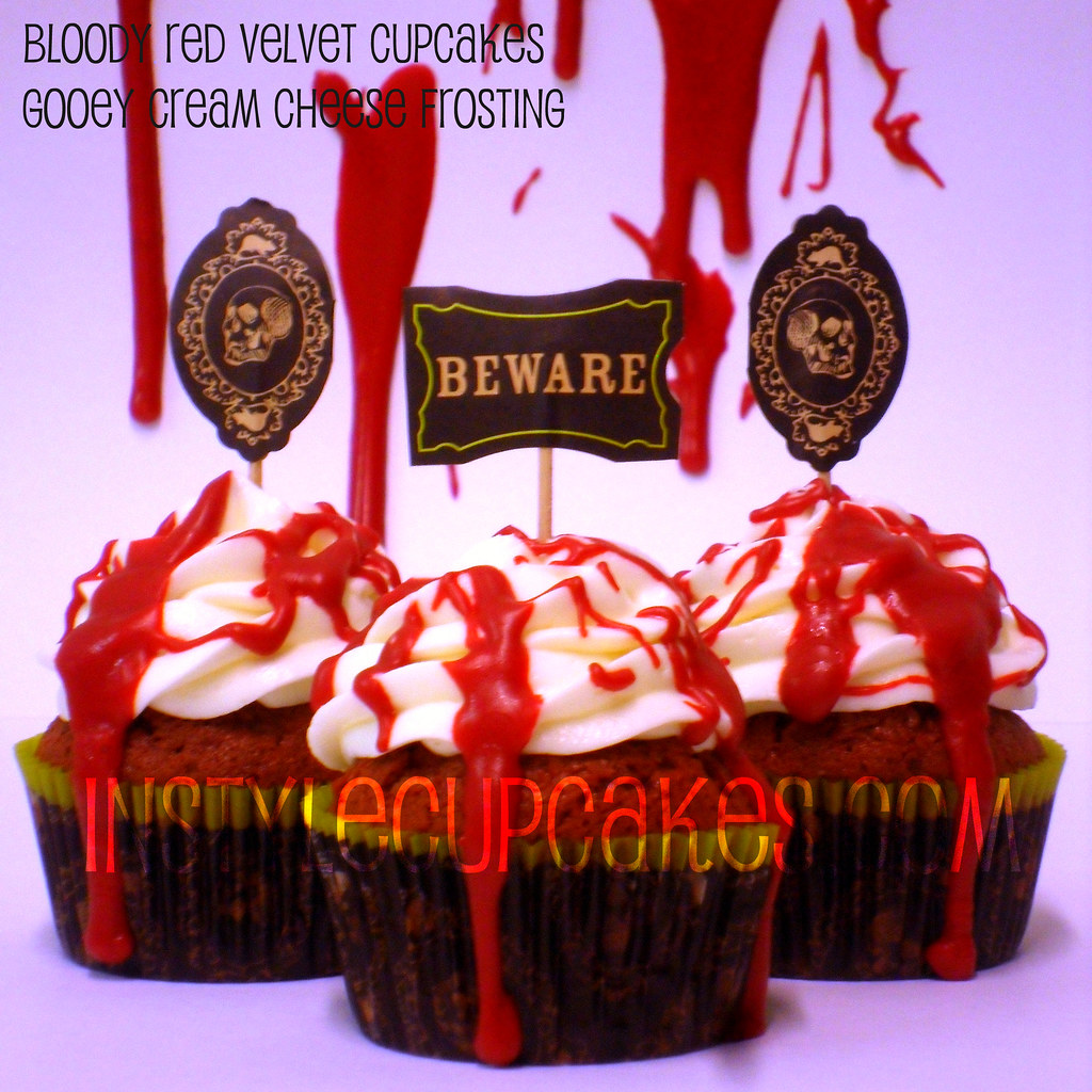 bloody halloween red velvet cupcakes by instyle cupcakes
