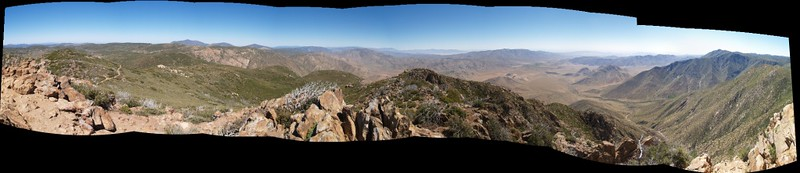 180 degree stitched panorama view looking east from the Garnet Peak Summit