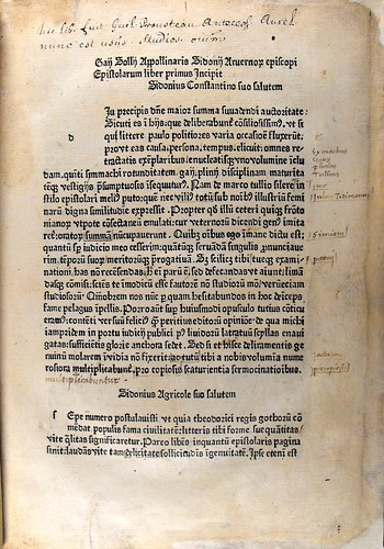 Ownership inscription and annotations in Sidonius Apollinaris: Epistolae et carmina | by University of Glasgow Library