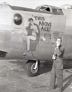 "SFC Lewis Funk with B-24 ""This Above All"" 