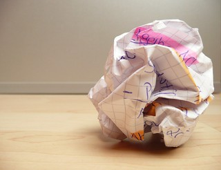 overcoming writer's block - crumpled paper on wooden floor - crushed paper | by photosteve101