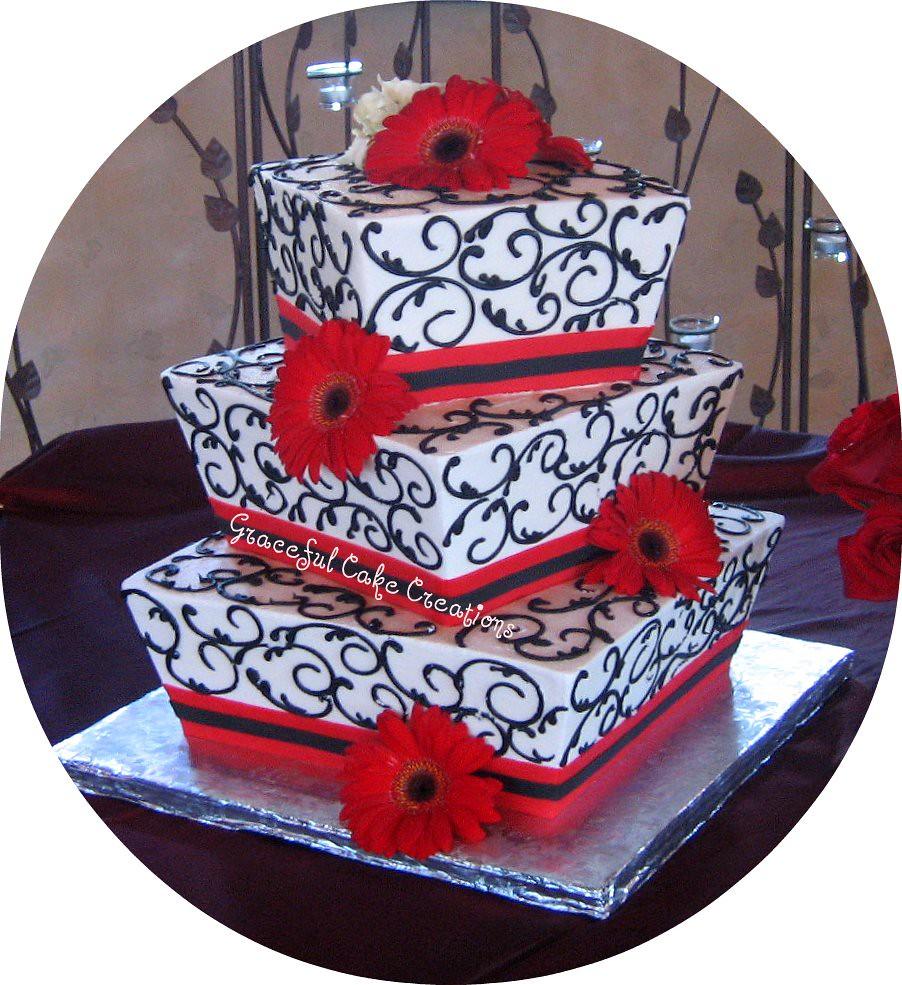 White Red and Black Wedding Cake | Grace Tari | Flickr
