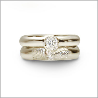 on wedding outside of s engagement band womens women fingerprint rings