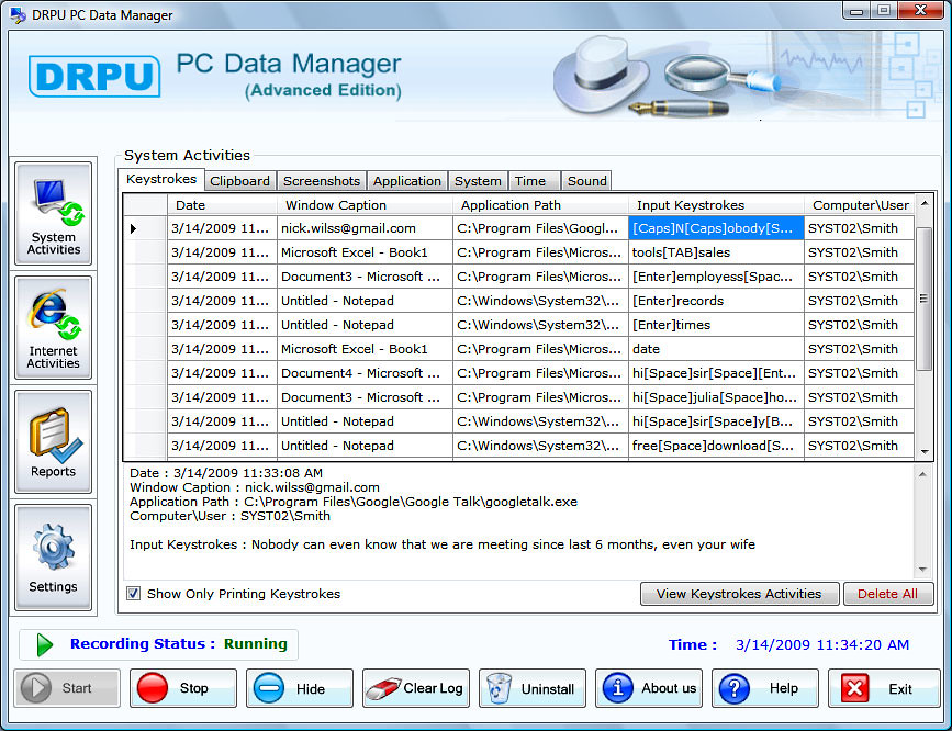... DRPU PC Data Manager (Advanced KeyLogger) - Screenshot 1 - by mihalysoft