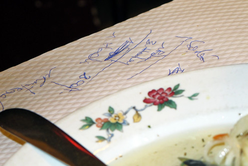 tablecloth writing | by David Lebovitz