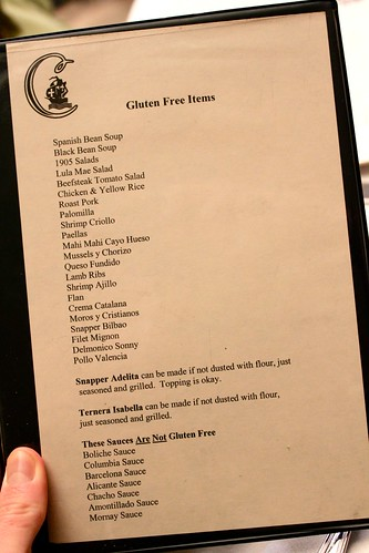 Gluten-free menu at The Columbia Restaurant, Tampa, Florida | by Kim | Affairs of Living