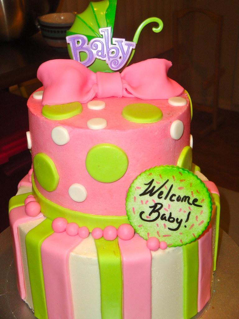 Pinkgreen Baby Shower Cake Pink And Green Baby Shower Cak Flickr