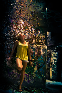 Emotioned : Graffiti / wall / abandoned / girl / woman / female / pose / colorful / texture | by Emotioned.com