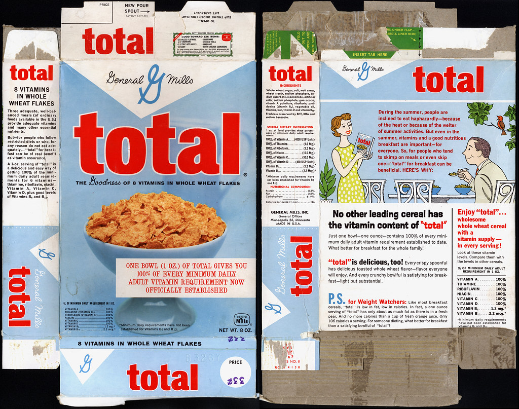 general mills total cereal box 1960 s this is a pretty flickr