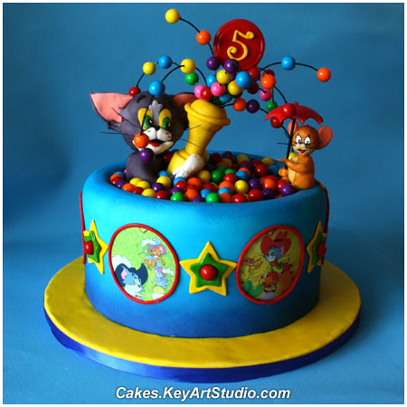 Tom And Jerry Playing In A Ball Pool Cake Cakes