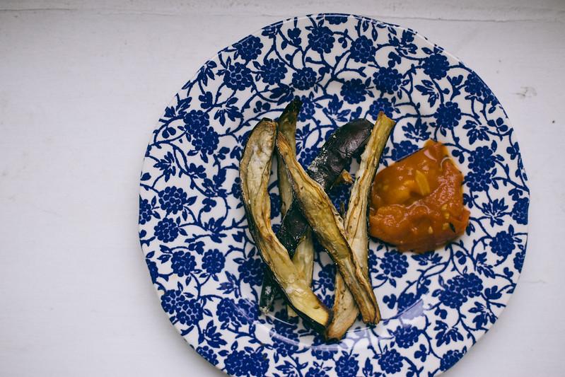 {aubergine chips w/ smoky tomato compote} via chevrons & éclairs
