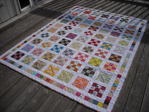 9-patch quilt after washing/drying | by vickivictoria