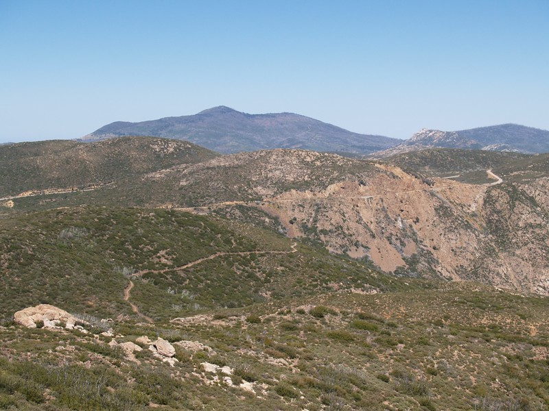 Looking west toward Cuyamaca and Stonewall Peaks as we hike down from Garnet Peak